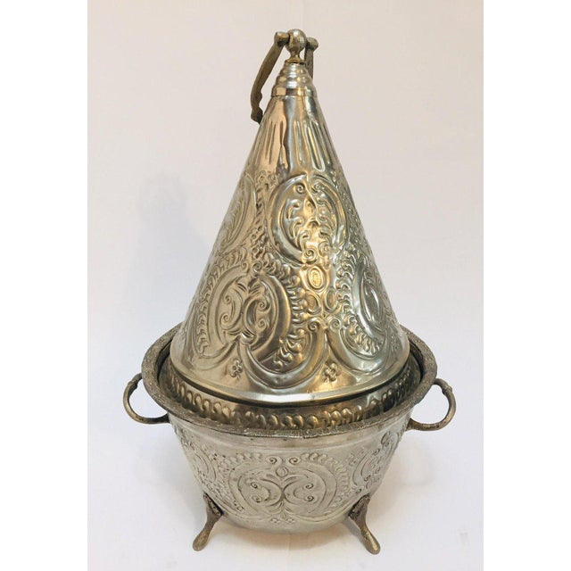 Moroccan Silver Repousse Plated Serving Dish Tajine With Cover For Sale - Image 12 of 13