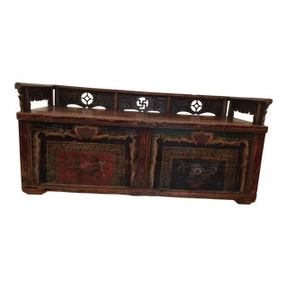 Mid 19th Century Antique Painted Mongolian Bench For Sale