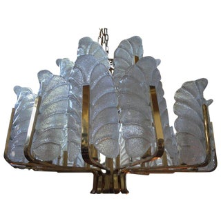 Carl Fagerlund for Orrefors Brass and Glass Chandelier
