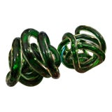 Image of Italian Kelly Green Glass Knots, Pair For Sale