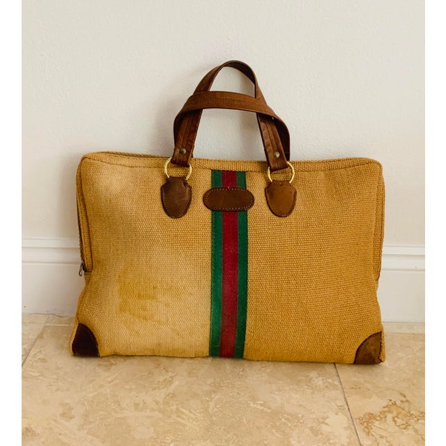 Green Vintage Italian Style Set of Luggage Jute and Leather, Set of 3 For Sale - Image 8 of 13
