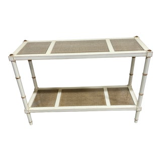 Vintage Off White and Gold Leaf Two Tier Console With Wicker Panels For Sale