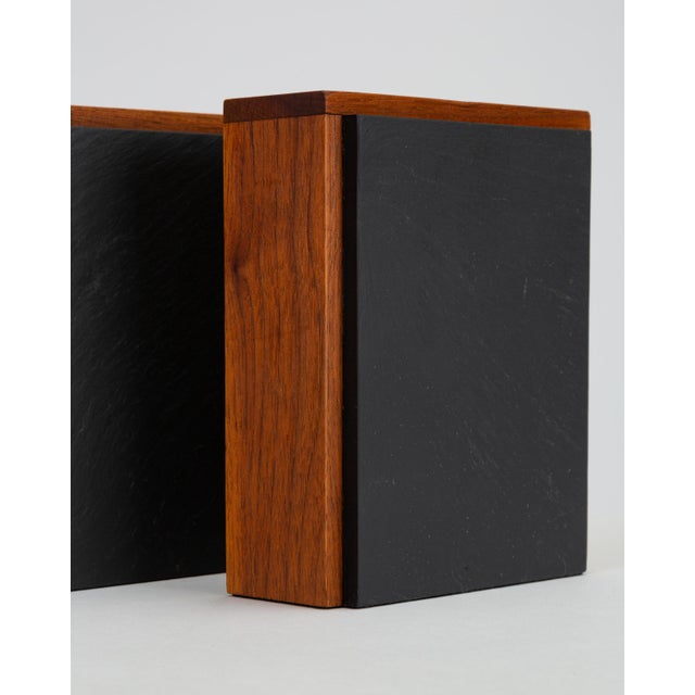 Pair of Scandinavian Modern Slate and Teak Bookends For Sale - Image 9 of 11