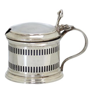 D. 1928 English Sterling Silver Mustard Pot For Sale