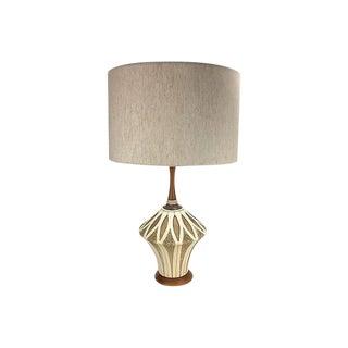 Mid-Century Modern Ceramic & Walnut Lamp