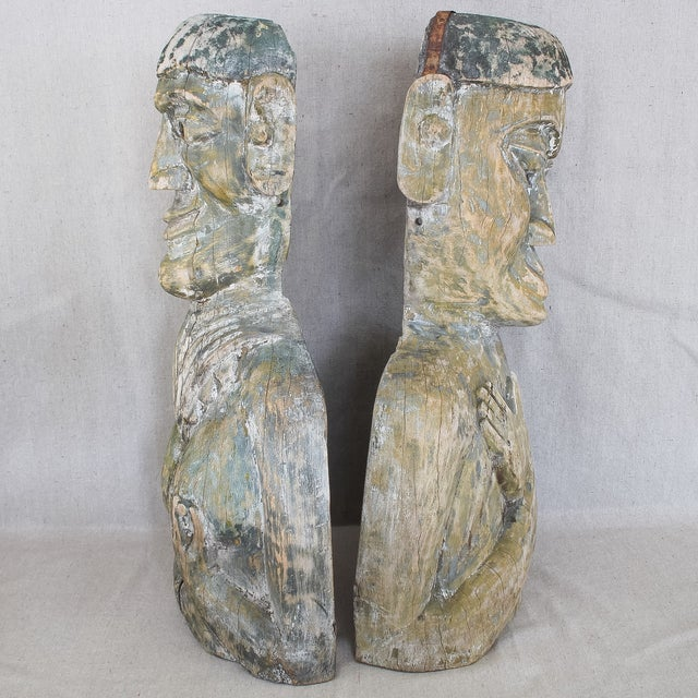 Antique West African Carved Wood Masks - Pair For Sale - Image 10 of 10
