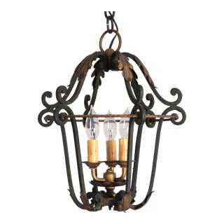 1930s-40s French Iron Pendant Light in Style of Gilbert Poillerat For Sale