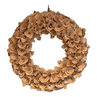 Contemporary Wood Rose Wreath For Sale