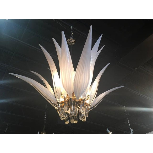 Mid 20th Century Murano Glass & Brass Italian Leaf Chandelier For Sale - Image 5 of 8