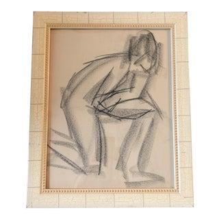 Vintage Original Charcoal Modernist Figure Drawling