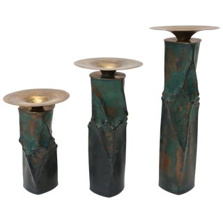 Brutalist Oxodized Copper and Brass Candleholders - Set of 3 For Sale