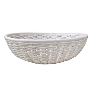 Grande Italian Woven Porcelain Bowl For Sale