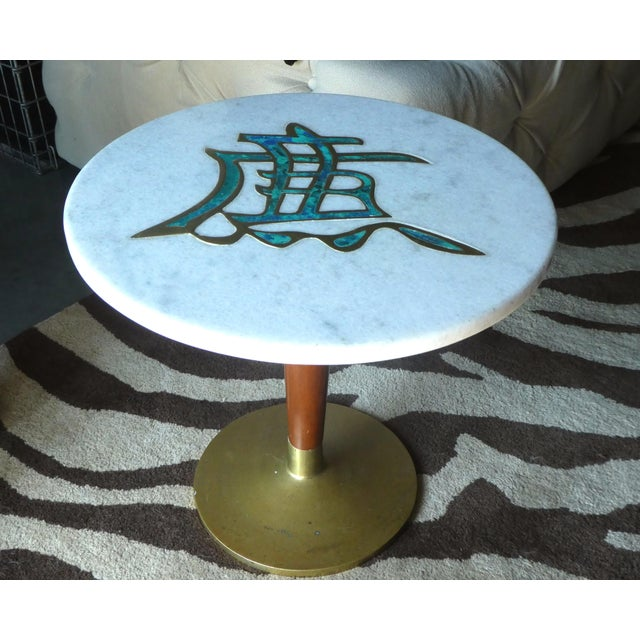 Rare mid-century Pepe Mendoza marble top side table sold as found without damage showing some light oxidation to bronze.