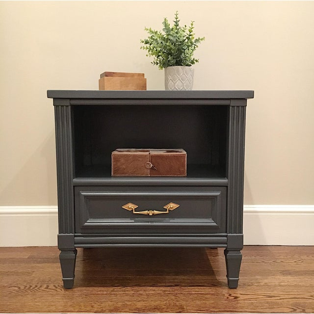 1970s 1970s Hollywood Regency Bassett Gray Tall Dresser and Nightstand Set - 2 Pieces For Sale - Image 5 of 12