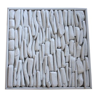 Vintage White Lacquered Driftwood Assemblage Art For Sale