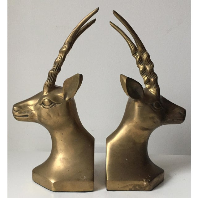 Vintage Large Brass African Deer Bookends - a Pair - Image 5 of 6