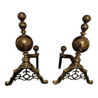 Vintage Brass Andirons - a Pair For Sale