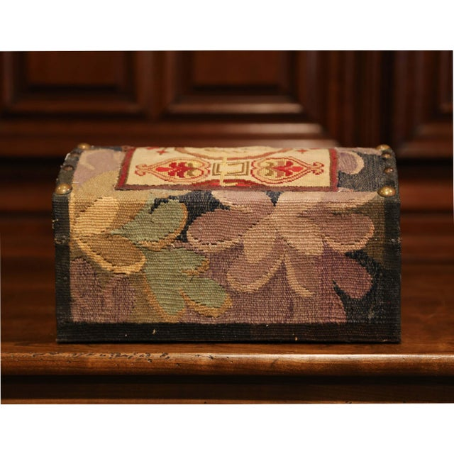 Red Decorative Bombe Box With 18th Century Needlepoint Tapestry by J. Lamy For Sale - Image 8 of 11