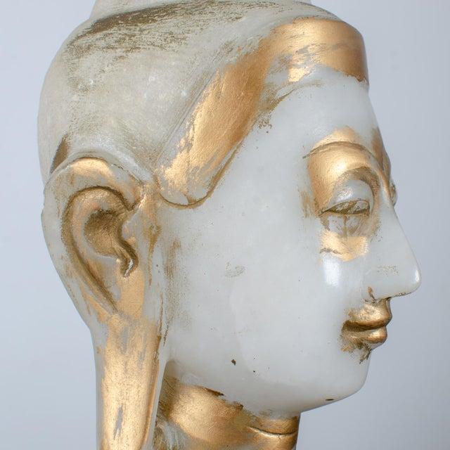 Mandalay Alabaster Shakyamuni Buddha Sculpture For Sale - Image 9 of 12
