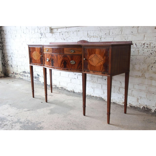 Wood Limbert Hepplewhite Style Inlaid Flame Mahogany Sideboard Buffet, Circa 1930s For Sale - Image 7 of 11