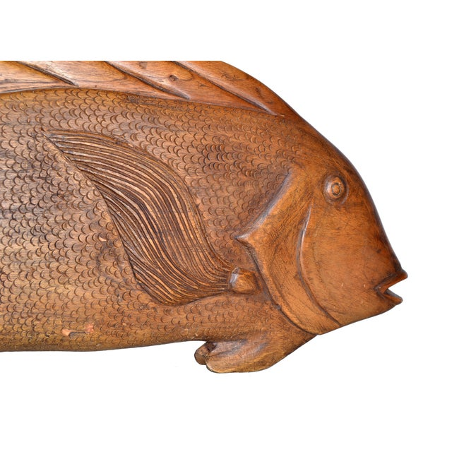 Nautical Hand Carved Wood Fish Platter For Sale - Image 3 of 10