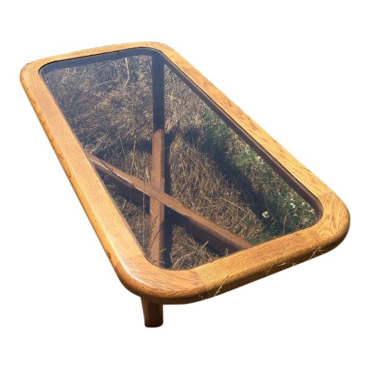 Smoked Glass & Oak Coffee Table - Image 1 of 3