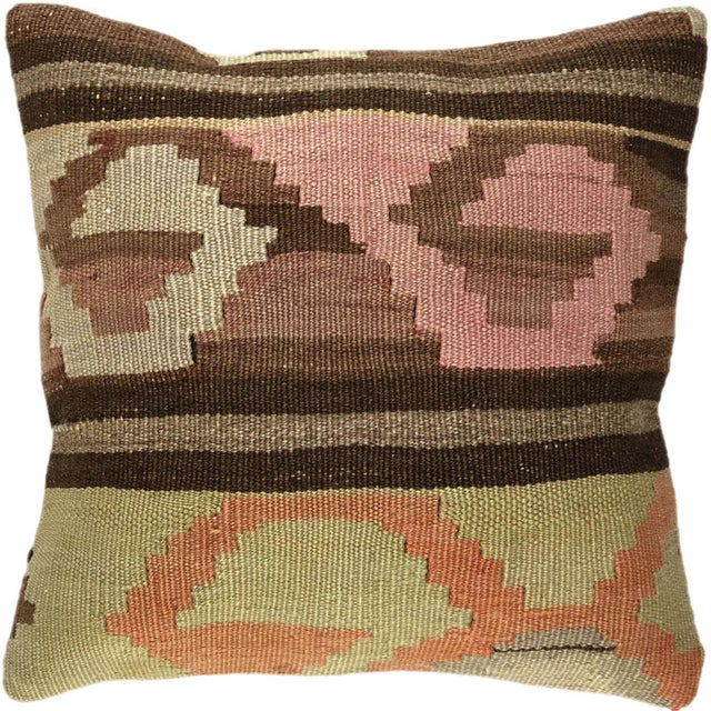 """Mid-Century Modern Up-Cycled Mid-Century Kilim Pillow 