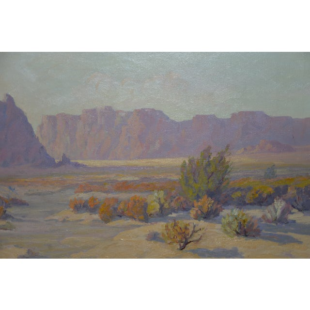 "Canvas ""Red Mesa, Az"" Original Desert Landscape Painting C.1940s For Sale - Image 7 of 13"