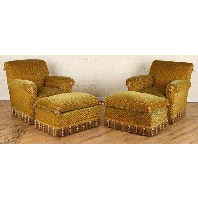 Gold Pair of 1940s French Club Chairs With Matching Ottomans For Sale - Image 8 of 8
