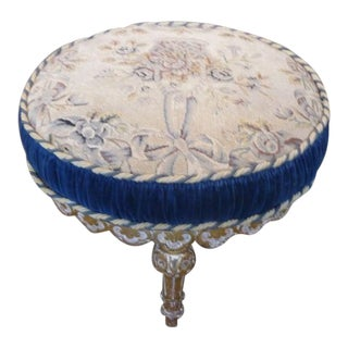 19th Century Round Louis XVI Style Giltwood Footstool