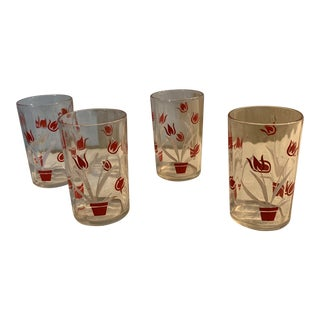 1950s Mid-Century Red Tulip Glasses - Set of 4 For Sale