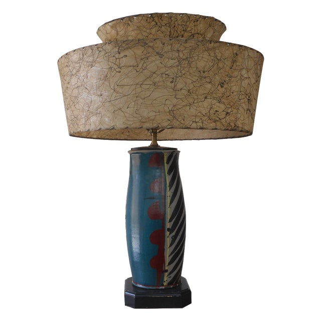 Mid-Century Pottery Lamp - Image 1 of 6