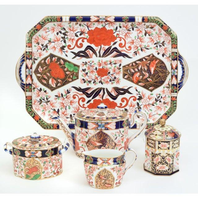 Gold Antique England Royal Crown Derby Imari Porcelain Tea Service . For Sale - Image 8 of 13