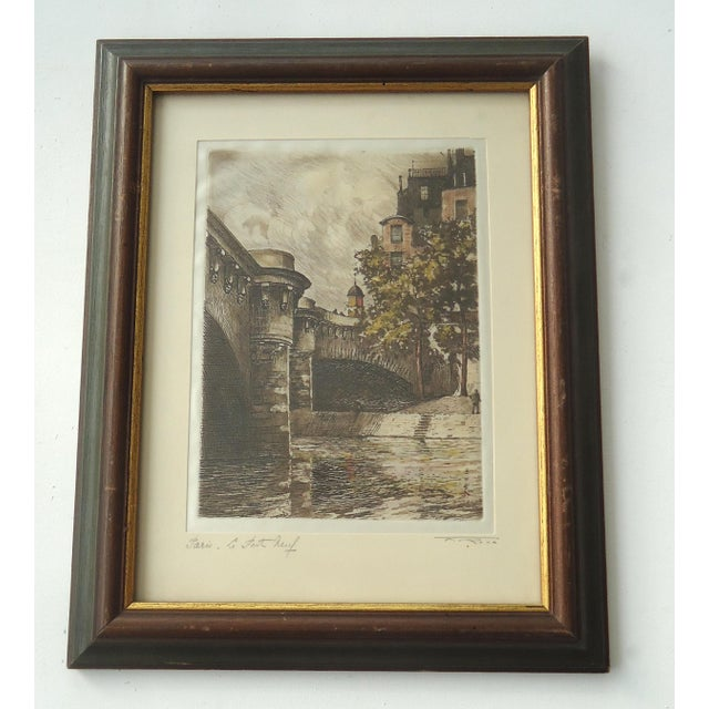 A vintage etching of Pont Neuf, Paris on fabric with a sheen to it which gives this a unique surface quality. Signed and...
