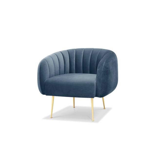 Channeled Side Chair in Dust Blue For Sale In Philadelphia - Image 6 of 6