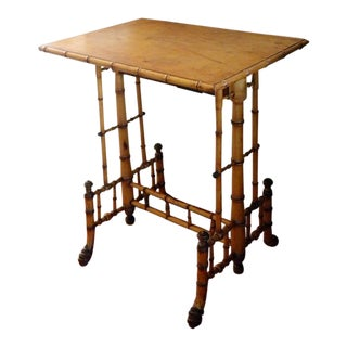 Antique Aesthetic Movement Birds Eye Maple Faux Bamboo Side Table by R. J. Horner For Sale