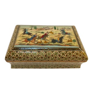 1950s Moorish Mosaic Indo Persian Inlaid Jewelry Trinket Box For Sale