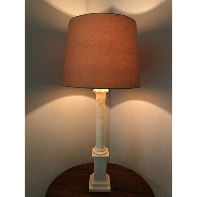 Hollywood Regency Alabaster Column Lamp For Sale - Image 5 of 5