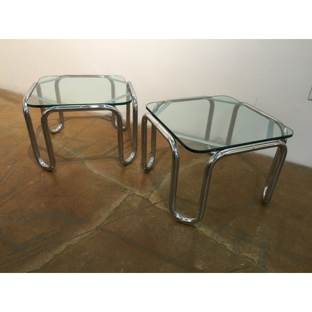 Vintage Chrome & Glass End Tables - A Pair - Image 2 of 6