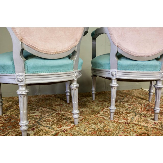 Artist Repainted Pastel Fauteuil Chairs- A Pair - Image 7 of 7