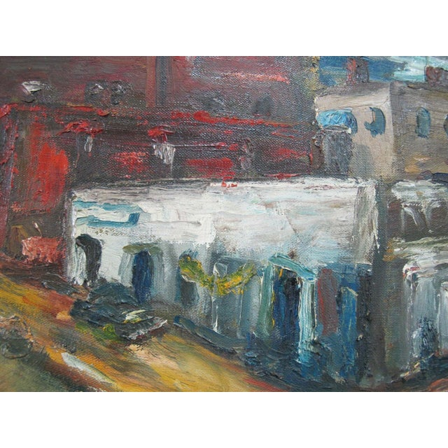 Virginia Holsman, 1915 - 1980, Portland Oregon original cityscape oil painting on canvas. Heavy brush strokes show...