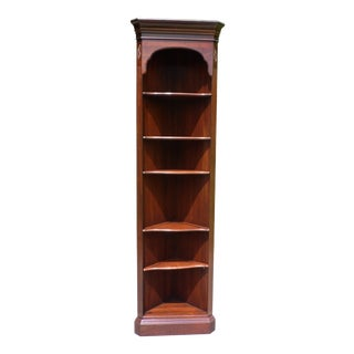 Vintage Ethan Allen Georgian Court Solid Cherry Corner Bookcase For Sale