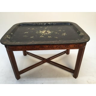 19th Century English Papier Mache Hand Painted Tray Table Preview