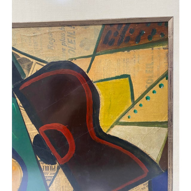 1950s 1956 Cubist Guitar J Lacoste Mixed Medium on Board Painting For Sale - Image 5 of 13