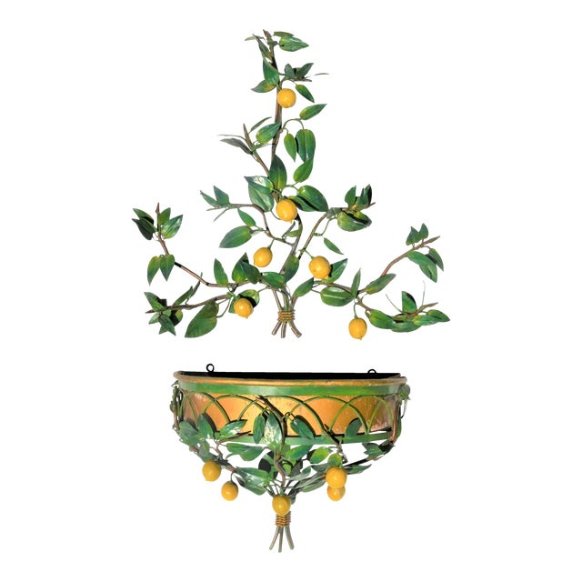 Vintage Italian Tole Lemon Tree Wall Sconce With Planter For Sale