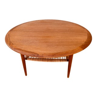 1960s Danish Modern Teak Rattan Coffee Table - Johannes Andersen Cfc Silkeborg For Sale