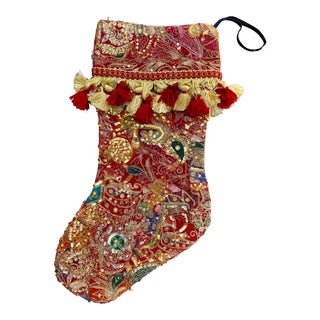 Antique Indian Sequin Sari Christmas Stocking For Sale
