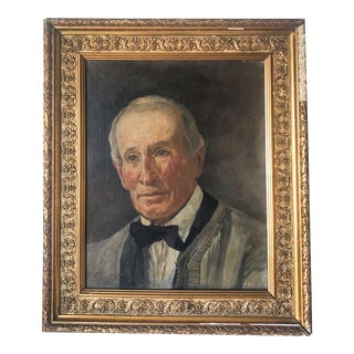 19th C. Gentleman Portrait Painting by Gustav Jeanneret For Sale