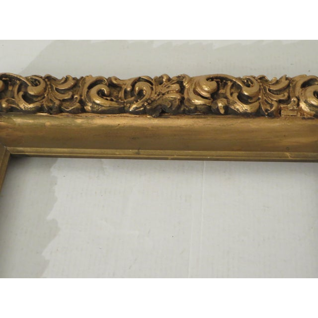 Antique Wood Gesso Gold Gild Picture Frame for Painting or Mirror For Sale - Image 4 of 9