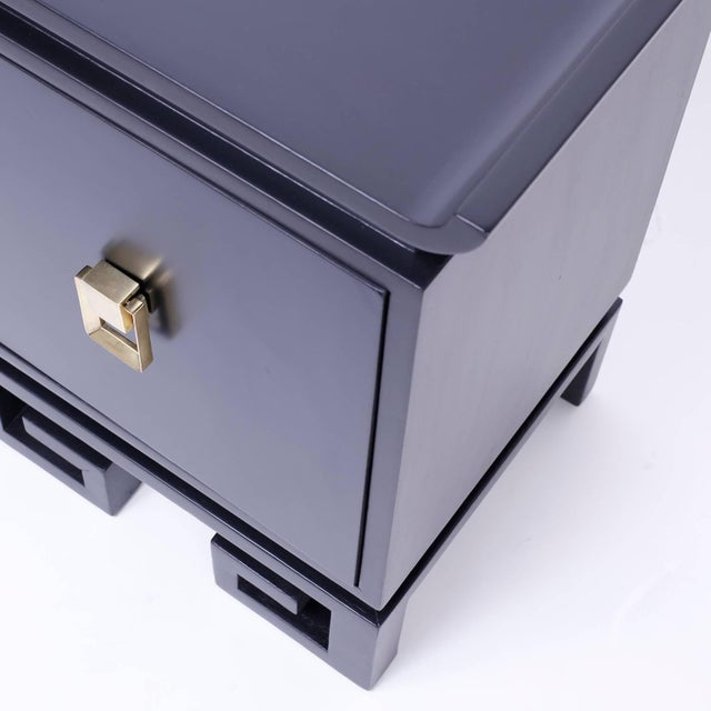 Mid-Century Black Lacquered Bedside Chests or Nightstands - A Pair For Sale In West Palm - Image 6 of 10